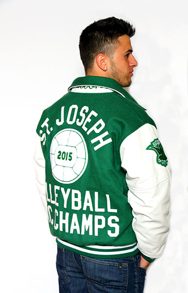 Back view of the Wool varsity jacket with Leather Sleeves, Sport Collar with Leather Under Collar, 2-color Cuffs and Leather Pocket Trim