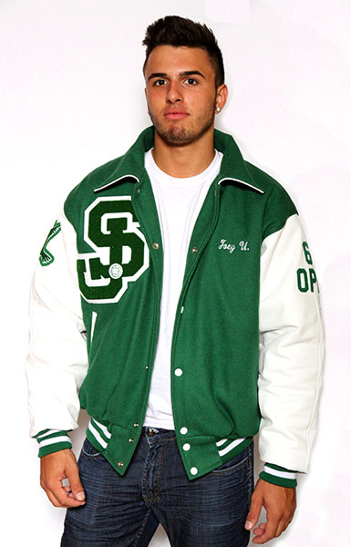 Front view of the Wool varsity jacket with Leather Sleeves, Sport Collar with Leather Under Collar, 2-color Cuffs and Leather Pocket Trim