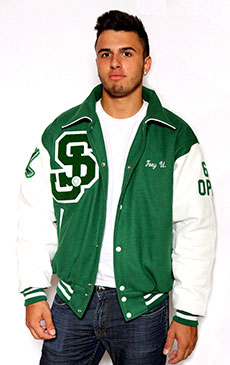 Wool varsity jacket with Leather Sleeves, Sport Collar with Leather Under Collar, 2-color Cuffs and Leather Pocket Trim