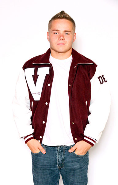 Front view of the Wool varsity jacket in Cardinal with White Leather sleeves, Sport Collar with Leather Under collar, 2-color Cuffs and Leather Pocket Trim