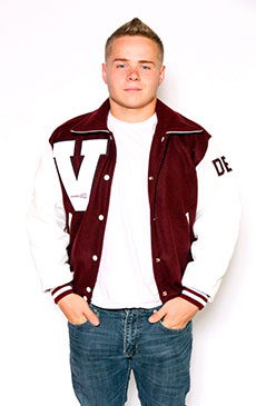 Wool varsity jacket in Cardinal with White Leather sleeves, Sport Collar with Leather Under Collar, 2-color Cuffs and Leather Pocket Trim