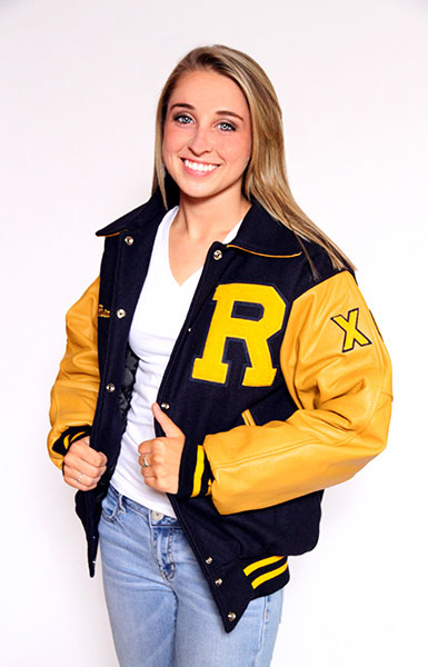 Front view of the Wool varsity jacket in Dark Royal with Gold Leather sleeves, Sport Collar with Leather Under collar and Leather Pocket Trim in Gold