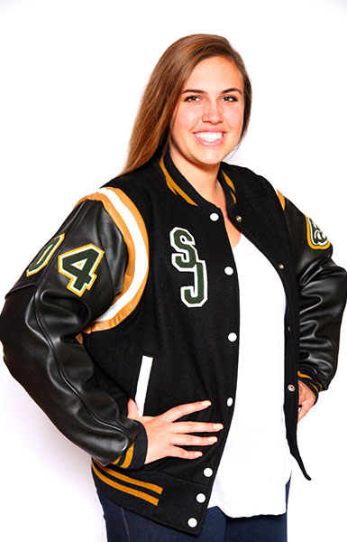 Front view of the Wool varsity jacket with Black Leather sleeves, 2-color Knit Collar, Cuffs and Trim, Leather Shoulder Stripes and Leather Pocket Trim