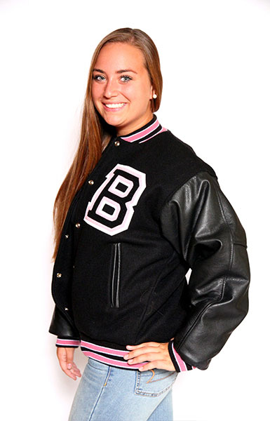Front view of the Wool varsity jacket with Black Leather sleeves, 2-color Knit Collar with White Feathering, Cuffs and Trim and Leather Pocket Trim