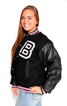 Wool varsity jacket with Black Leather sleeves, 2-color Knit Collar with White Feathering, Cuffs and Trim and Leather Pocket Trim