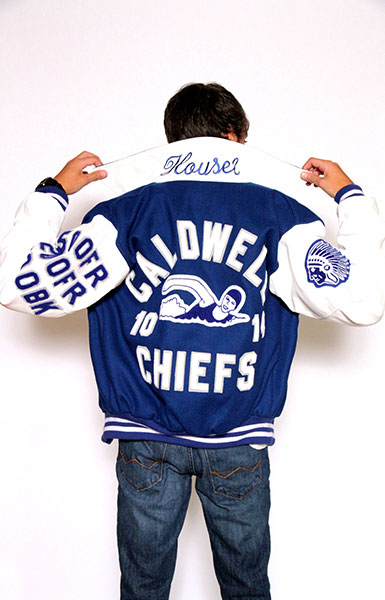 Back view of the Wool varsity jacket with White Leather sleeves, Sport Collar with Leather Under collar, 2-color Cuffs and Leather Pocket Trim