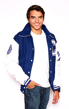 Wool varsity jacket with White Leather sleeves, Sport Collar  with Leather Under Collar, 2-color Cuffs and Leather Pocket Trim