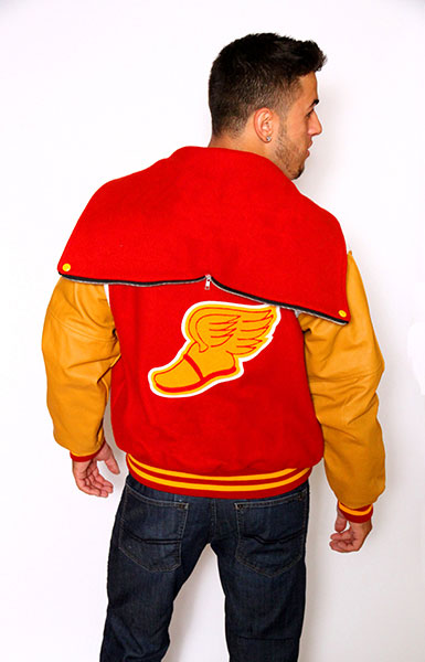 Back view of the Wool varsity jacket with Gold Leather sleeves, Zippered Hood, Leather Shoulder Stripe, 2-color Cuffs and Leather Pocket Trim