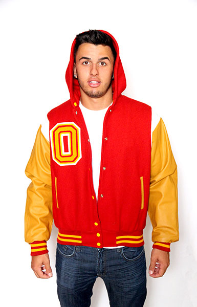 Front view of the Wool varsity jacket with Gold Leather sleeves, Zippered Hood, Leather Shoulder Stripe, 2-color Cuffs and Leather Pocket Trim