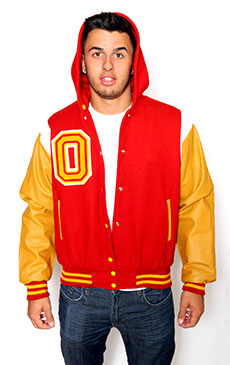 Wool varsity jacket with Golden Leather sleeves, Zippered Hood, Leather Shoulder Stripe, 2-color Cuffs and Leather Pocket Trim