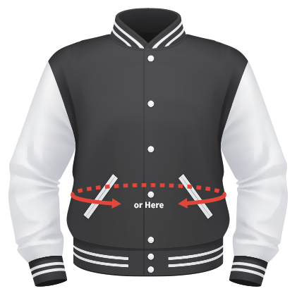 Find your varsity jacket size measuring your waist